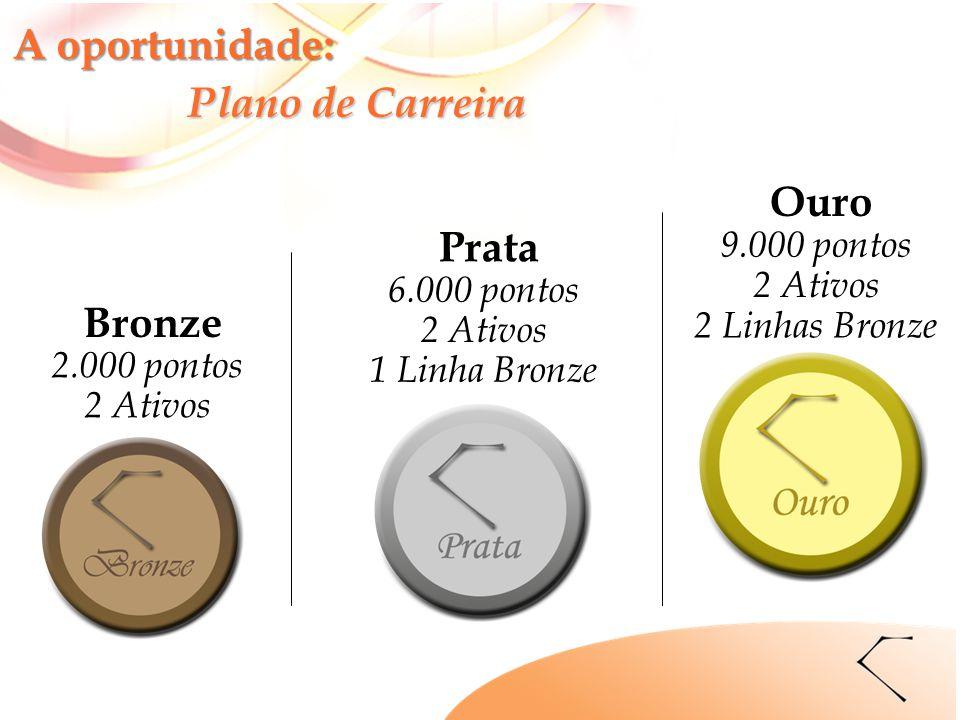 Bronze 2.000 pontos 2 Ativos Prata 6.000 pontos 2 Ativos 1 Linha Bronze Ouro 9.000 pontos 2 Ativos 2 Linhas Bronze A oportunidade: Plano de Carreira