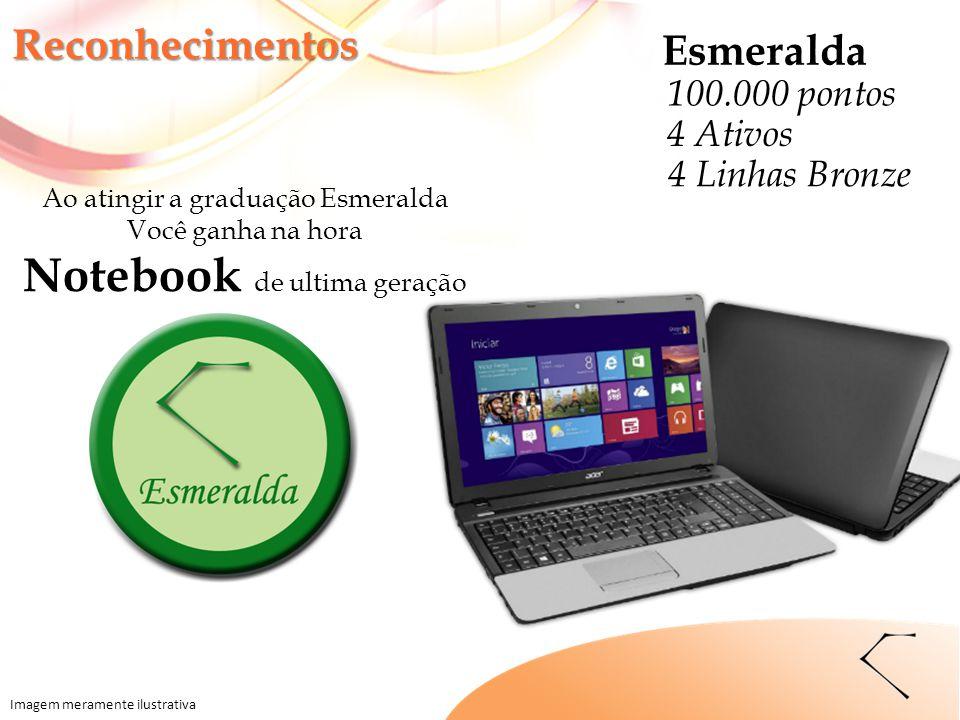Ao atingir a graduação Esmeralda Você ganha na hora Notebook de ultima geração Reconhecimentos Imagem meramente ilustrativa Esmeralda 100.000 pontos 4