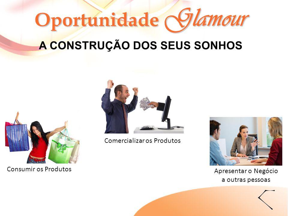 Oportunidade Glamour A CONSTRUÇÃO DOS SEUS SONHOS Consumir os Produtos Comercializar os Produtos Apresentar o Negócio a outras pessoas
