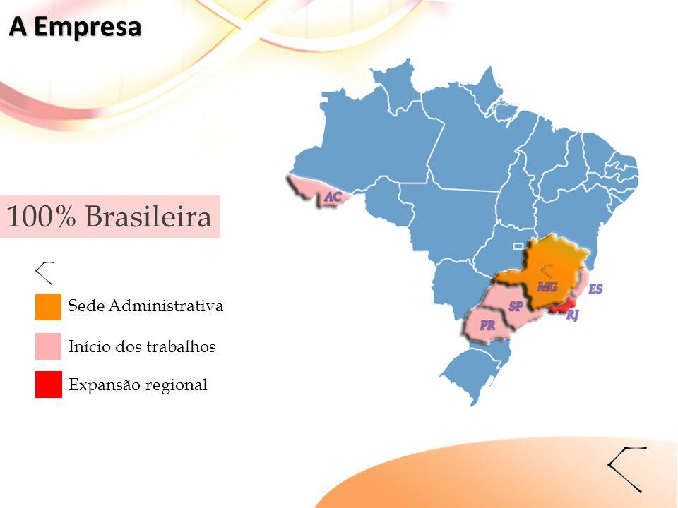 100% Brasileira Expansão regional Início dos trabalhos Sede Administrativa A Empresa
