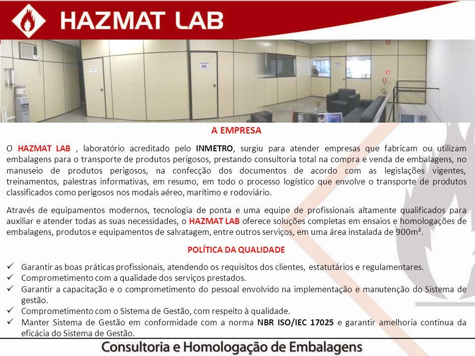 A EMPRESA O HAZMAT LAB, laboratório acreditado pelo INMETRO, surgiu para atender empresas que fabricam ou utilizam embalagens para o transporte de pro
