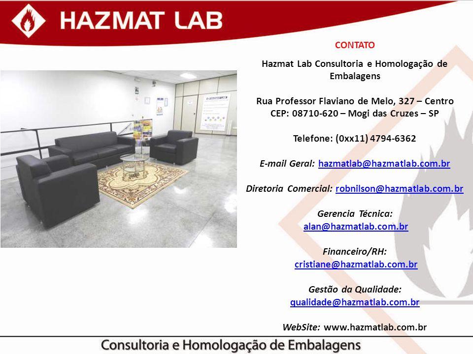 CONTATO Hazmat Lab Consultoria e Homologação de Embalagens Rua Professor Flaviano de Melo, 327 – Centro CEP: 08710-620 – Mogi das Cruzes – SP Telefone