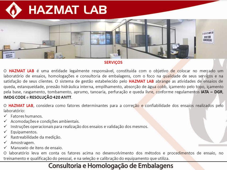 SERVIÇOS O HAZMAT LAB é uma entidade legalmente responsável, constituída com o objetivo de colocar no mercado um laboratório de ensaios, homologações