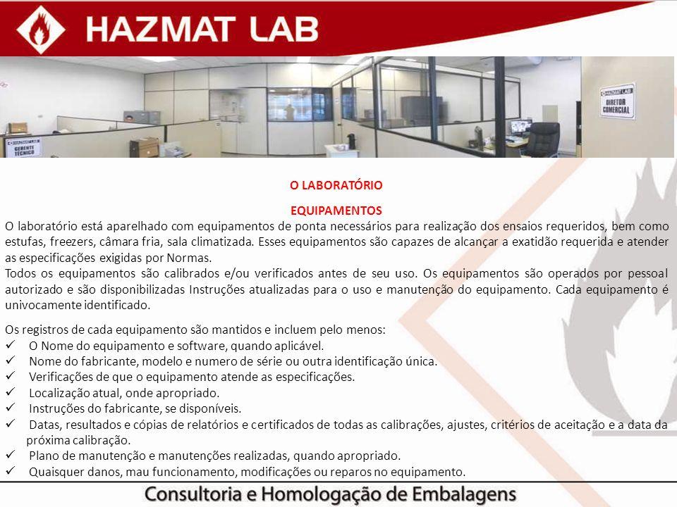 O LABORATÓRIO EQUIPAMENTOS O laboratório está aparelhado com equipamentos de ponta necessários para realização dos ensaios requeridos, bem como estufa