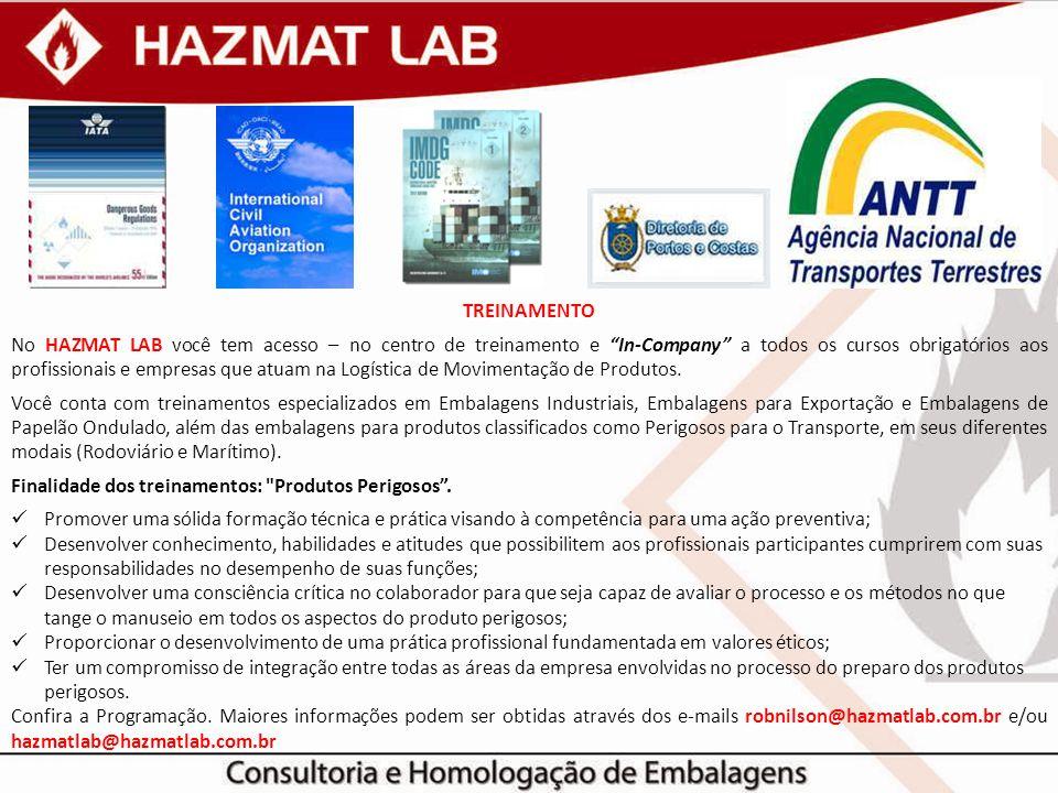 """TREINAMENTO No HAZMAT LAB você tem acesso – no centro de treinamento e """"In-Company"""" a todos os cursos obrigatórios aos profissionais e empresas que at"""