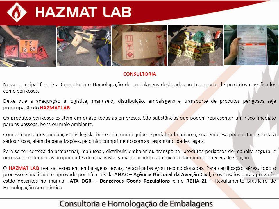 CONSULTORIA Nosso principal foco é a Consultoria e Homologação de embalagens destinadas ao transporte de produtos classificados como perigosos. Deixe