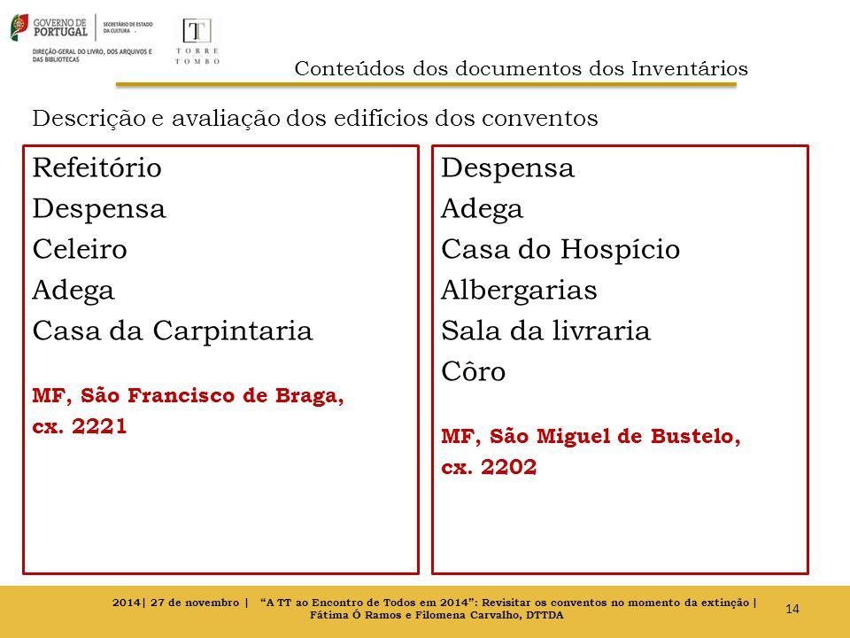 Descrição e avaliação dos edifícios dos conventos Refeitório Despensa Celeiro Adega Casa da Carpintaria MF, São Francisco de Braga, cx. 2221 Despensa