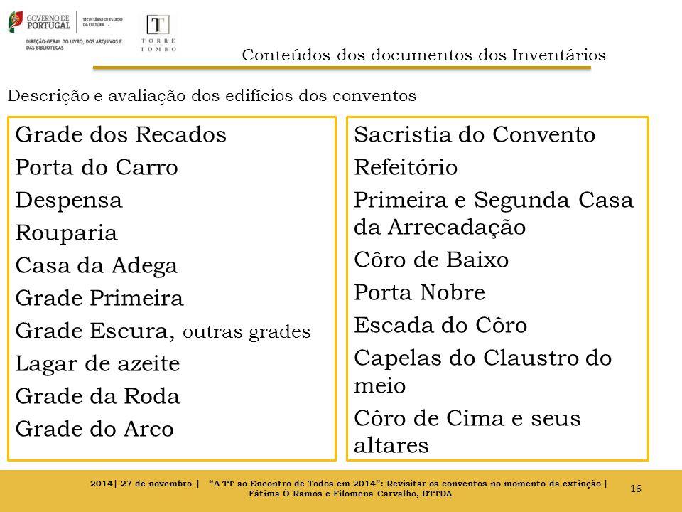 Descrição e avaliação dos edifícios dos conventos Grade dos Recados Porta do Carro Despensa Rouparia Casa da Adega Grade Primeira Grade Escura, outras