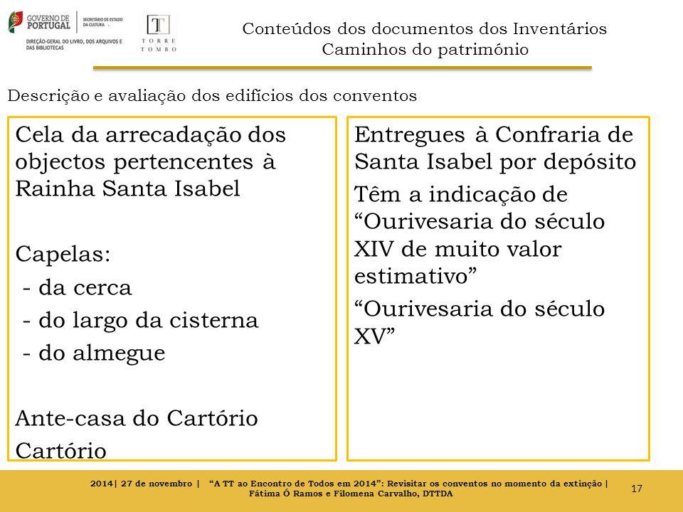 Descrição e avaliação dos edifícios dos conventos Cela da arrecadação dos objectos pertencentes à Rainha Santa Isabel Capelas: - da cerca - do largo d