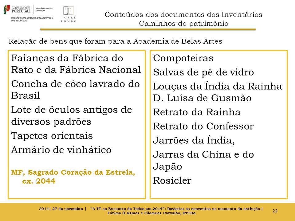 Relação de bens que foram para a Academia de Belas Artes Faianças da Fábrica do Rato e da Fábrica Nacional Concha de côco lavrado do Brasil Lote de óc