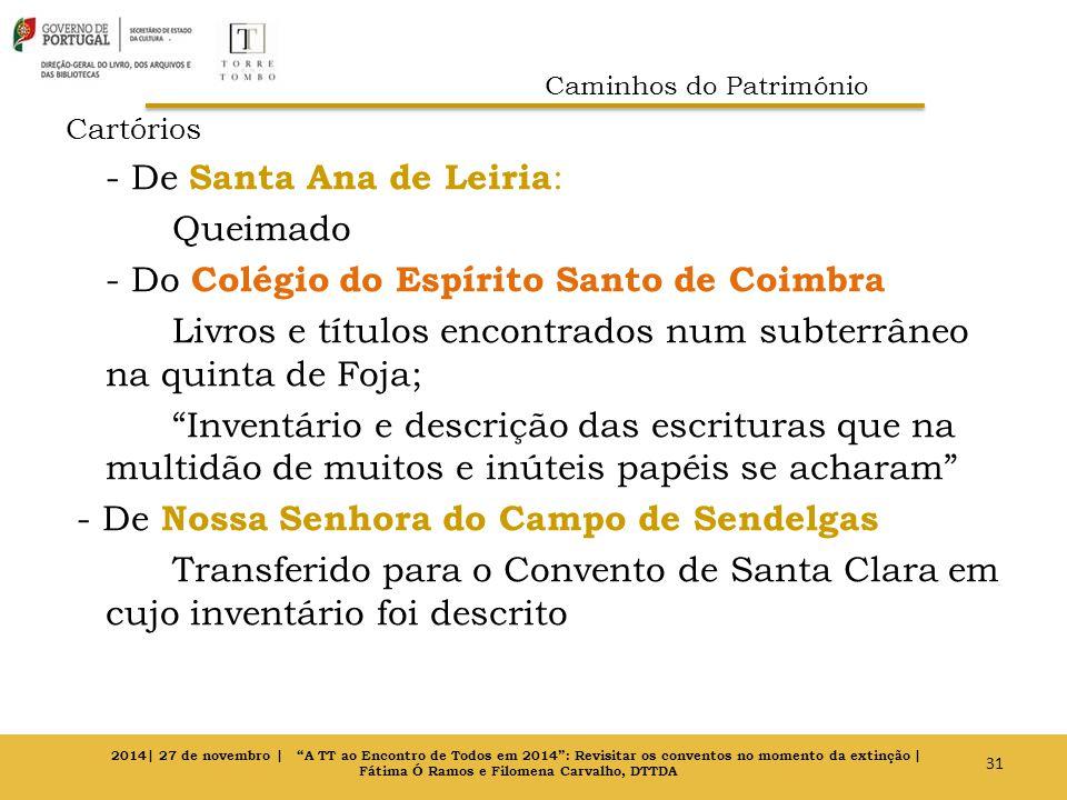 Cartórios - De Santa Ana de Leiria : Queimado - Do Colégio do Espírito Santo de Coimbra Livros e títulos encontrados num subterrâneo na quinta de Foja
