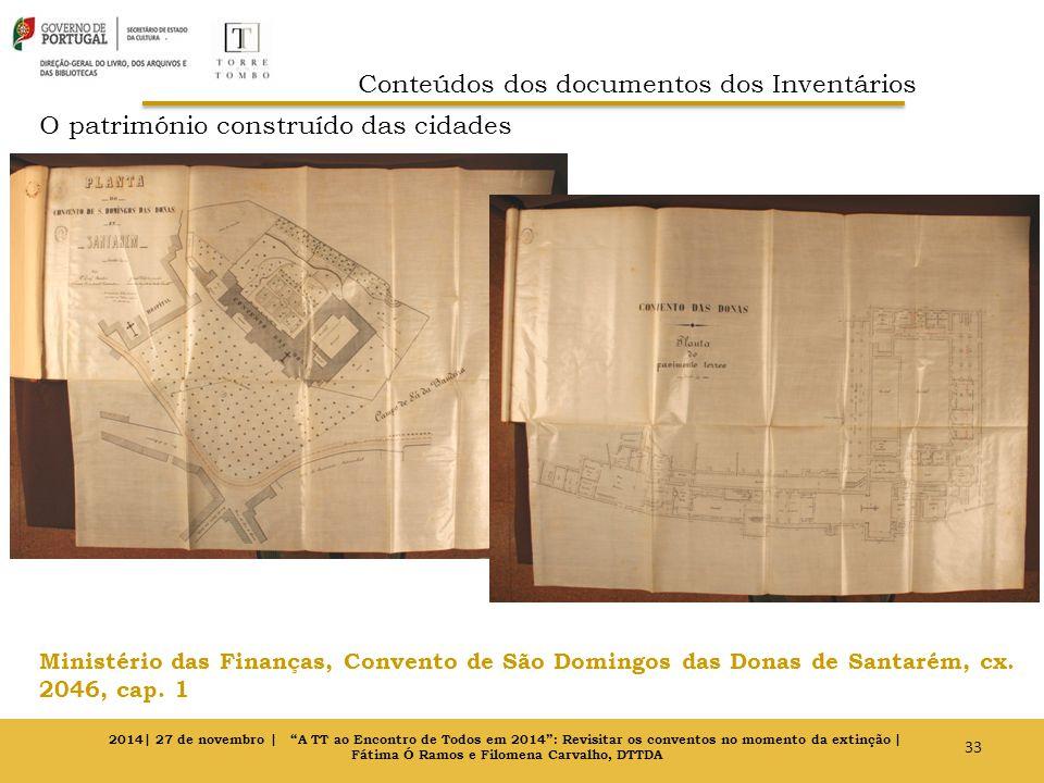 O património construído das cidades Ministério das Finanças, Convento de São Domingos das Donas de Santarém, cx. 2046, cap. 1 33 2014| 27 de novembro