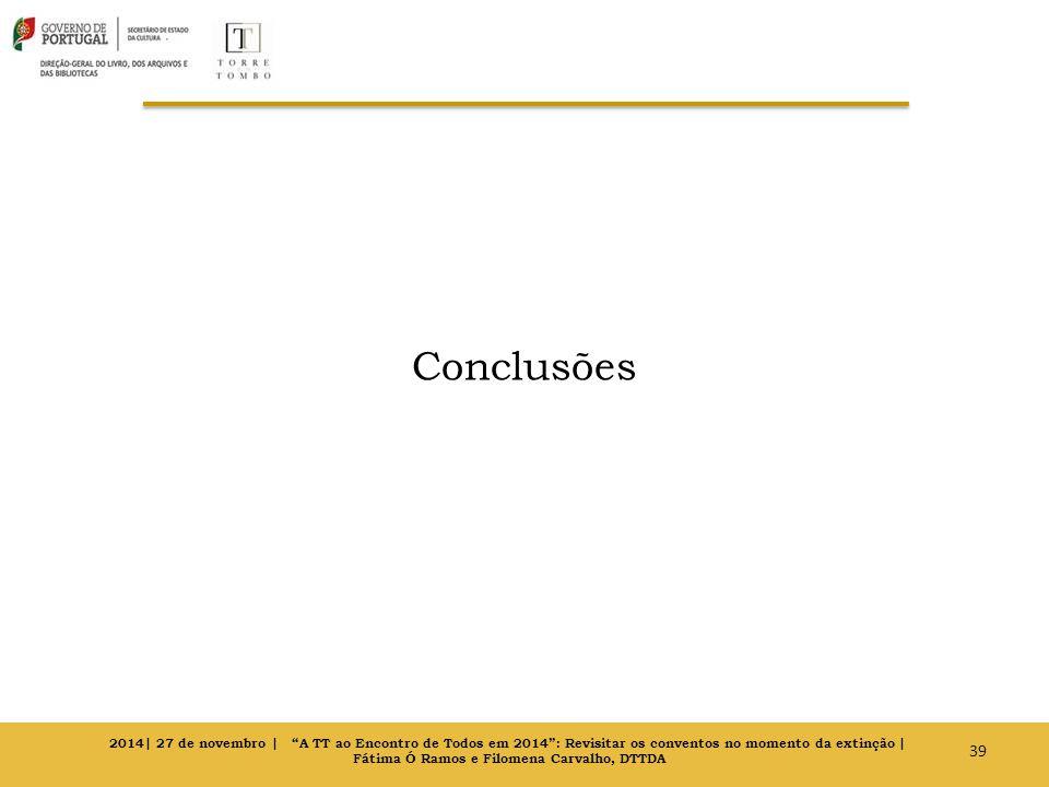 Conclusões 39 2014| 27 de novembro | A TT ao Encontro de Todos em 2014 : Revisitar os conventos no momento da extinção | Fátima Ó Ramos e Filomena Carvalho, DTTDA