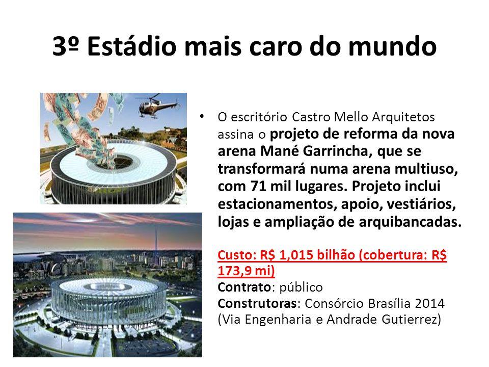 3º Estádio mais caro do mundo O escritório Castro Mello Arquitetos assina o projeto de reforma da nova arena Mané Garrincha, que se transformará numa arena multiuso, com 71 mil lugares.