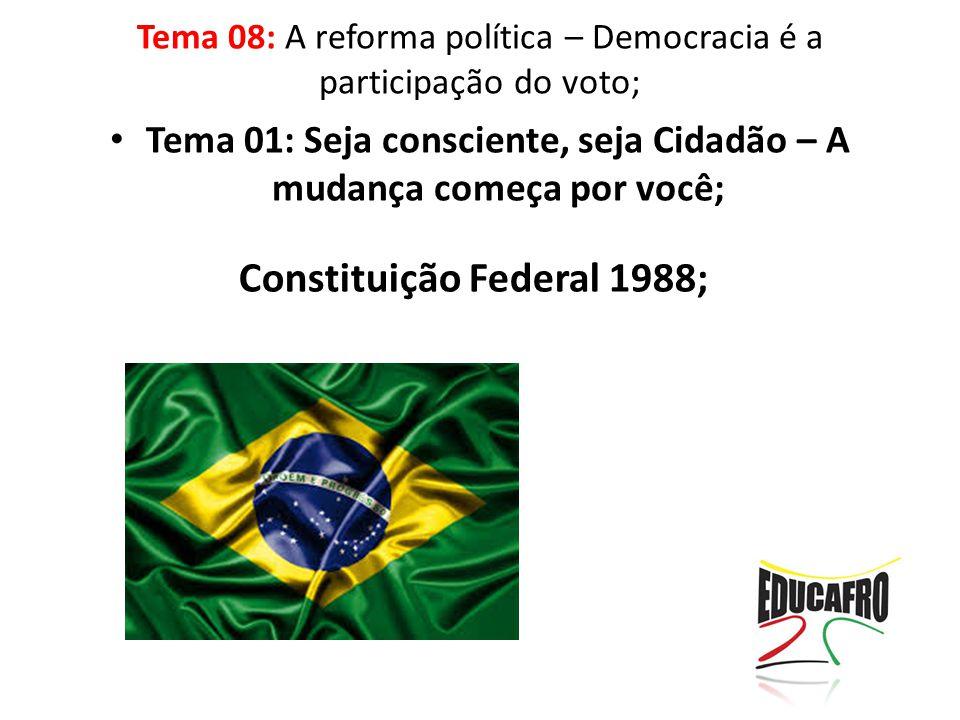 Tema 01: Seja consciente, seja Cidadão – A mudança começa por você; Constituição Federal 1988; Tema 08: A reforma política – Democracia é a participação do voto;