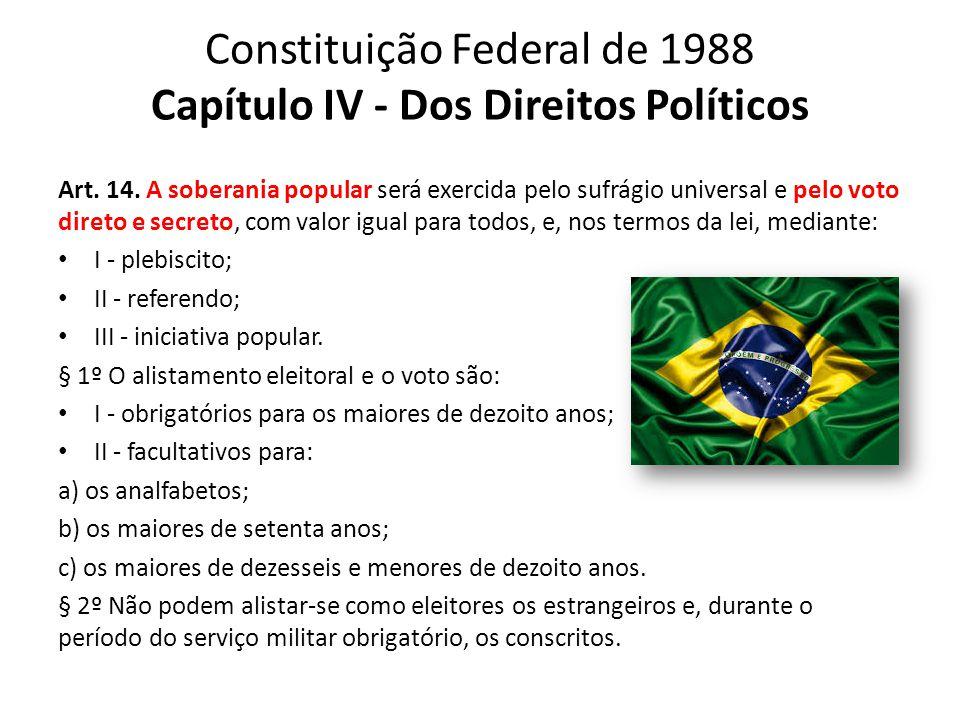Constituição Federal de 1988 Capítulo IV - Dos Direitos Políticos Art. 14. A soberania popular será exercida pelo sufrágio universal e pelo voto diret