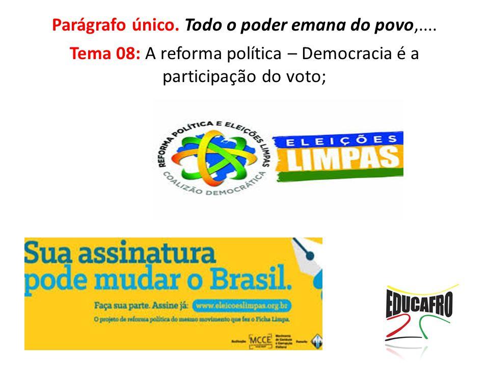 Parágrafo único. Todo o poder emana do povo,.... Tema 08: A reforma política – Democracia é a participação do voto;