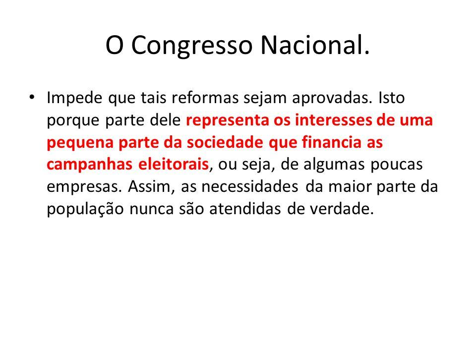 O Congresso Nacional. Impede que tais reformas sejam aprovadas. Isto porque parte dele representa os interesses de uma pequena parte da sociedade que