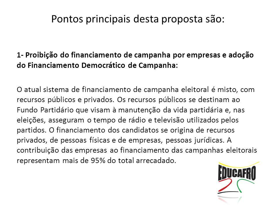 Pontos principais desta proposta são: 1- Proibição do financiamento de campanha por empresas e adoção do Financiamento Democrático de Campanha: O atual sistema de financiamento de campanha eleitoral é misto, com recursos públicos e privados.