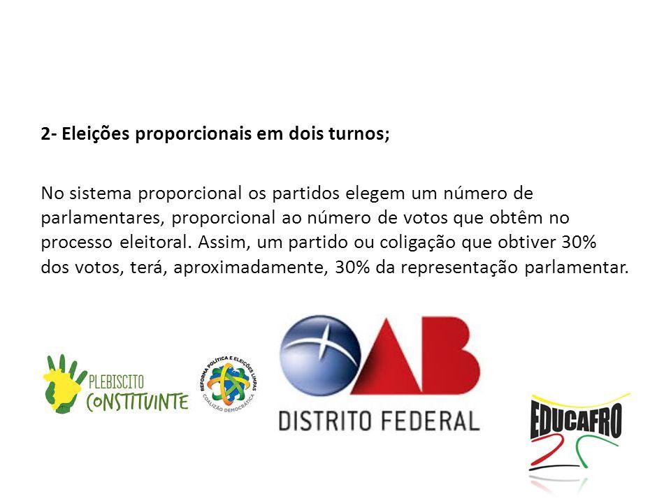 2- Eleições proporcionais em dois turnos; No sistema proporcional os partidos elegem um número de parlamentares, proporcional ao número de votos que obtêm no processo eleitoral.