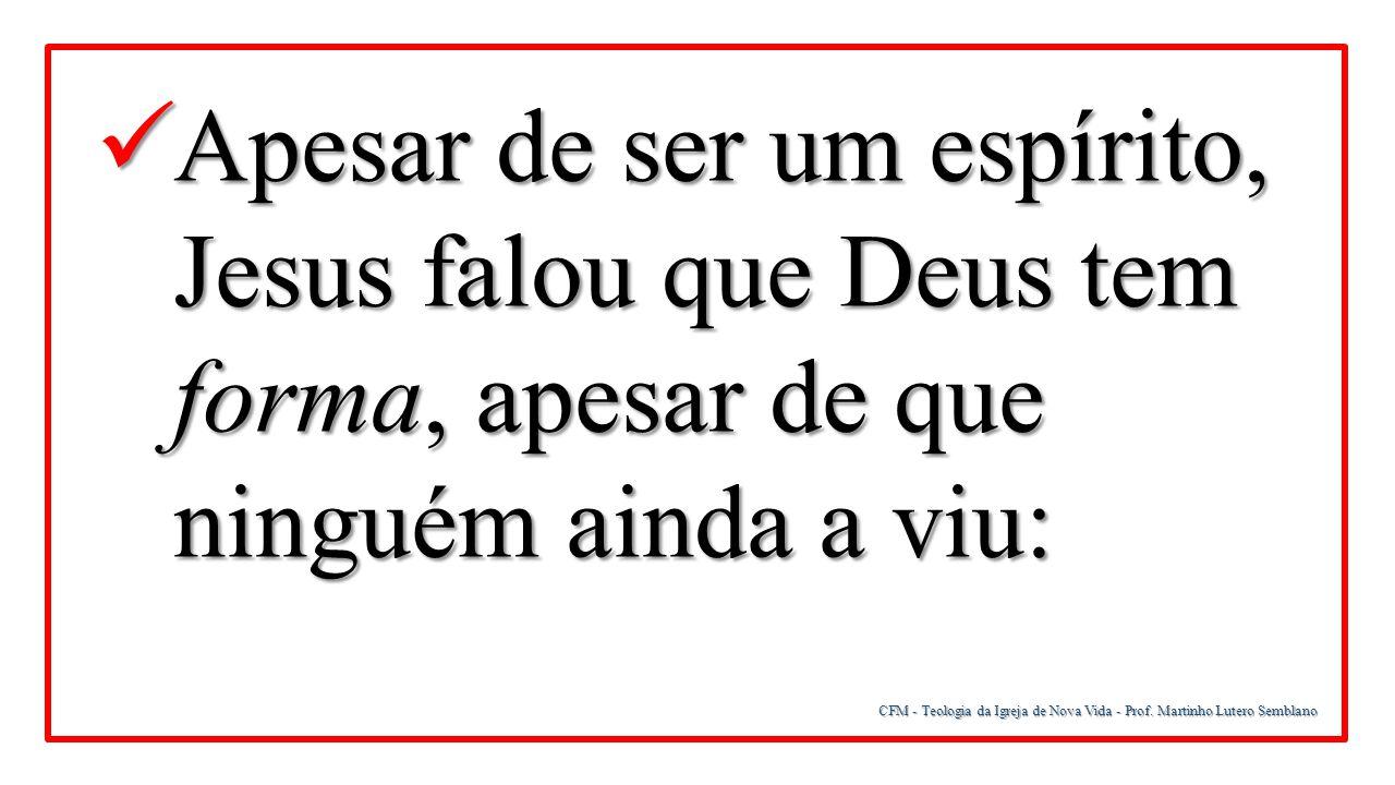 CFM - Teologia da Igreja de Nova Vida - Prof. Martinho Lutero Semblano Apesar de ser um espírito, Jesus falou que Deus tem forma, apesar de que ningué