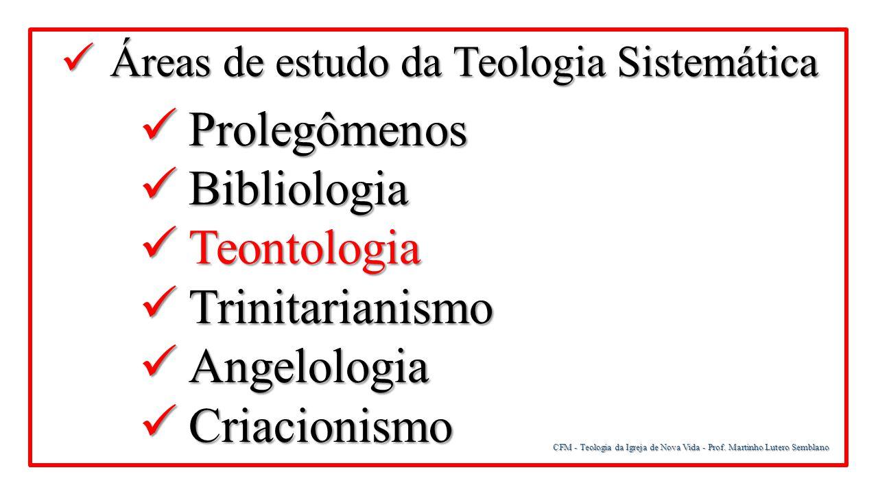 CFM - Teologia da Igreja de Nova Vida - Prof. Martinho Lutero Semblano Áreas de estudo da Teologia Sistemática Áreas de estudo da Teologia Sistemática