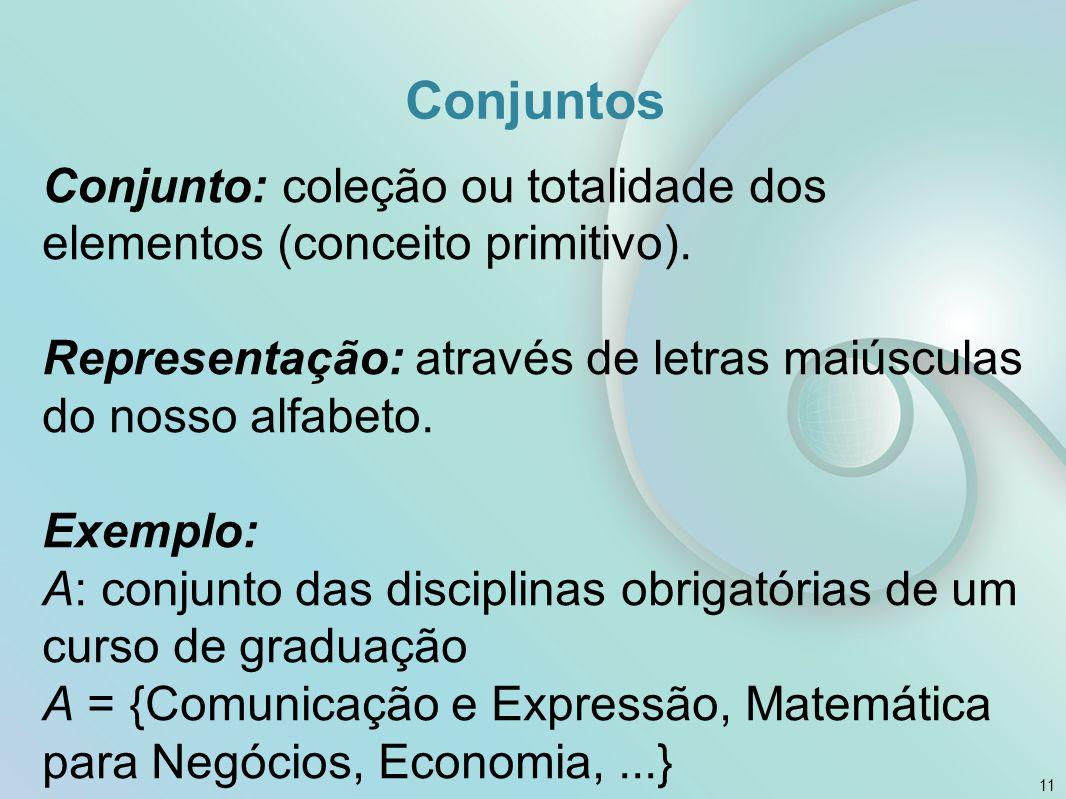 Conjuntos Conjunto: coleção ou totalidade dos elementos (conceito primitivo).
