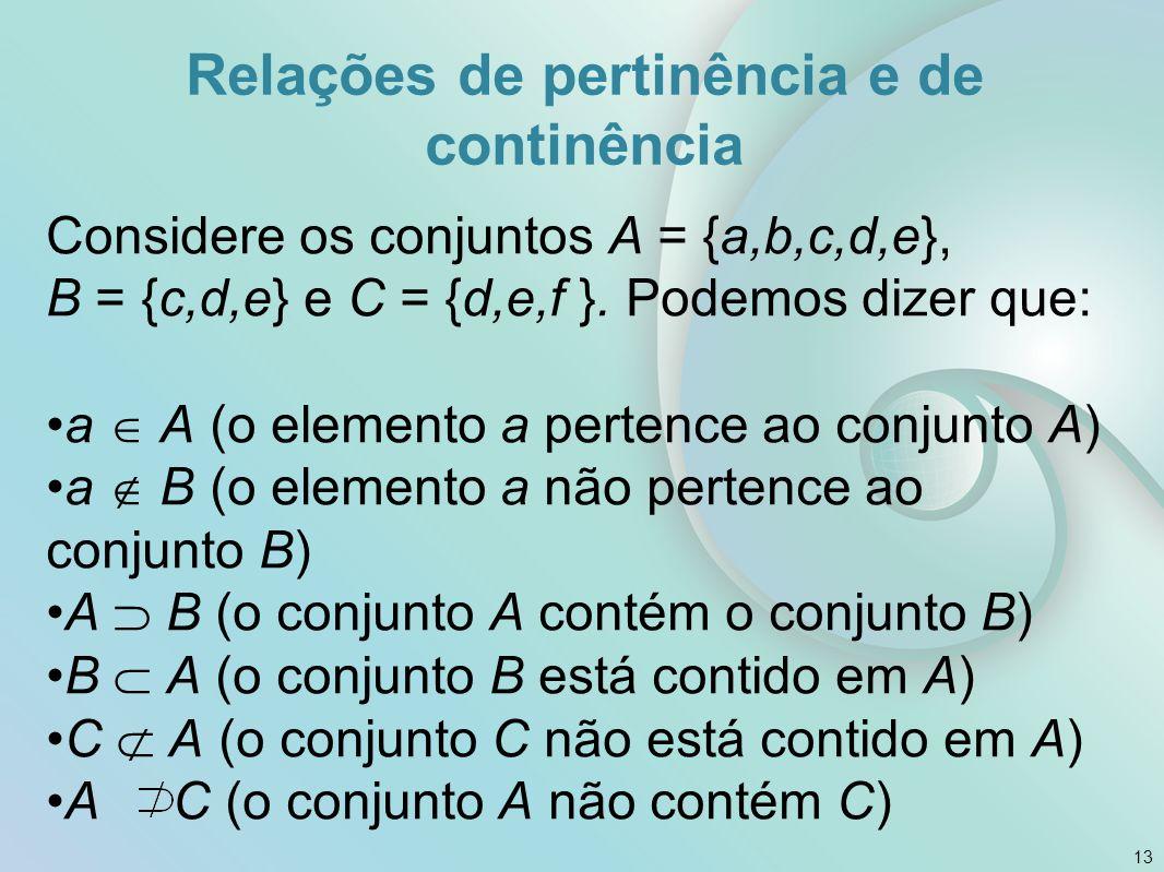 Relações de pertinência e de continência Considere os conjuntos A = {a,b,c,d,e}, B = {c,d,e} e C = {d,e,f }.