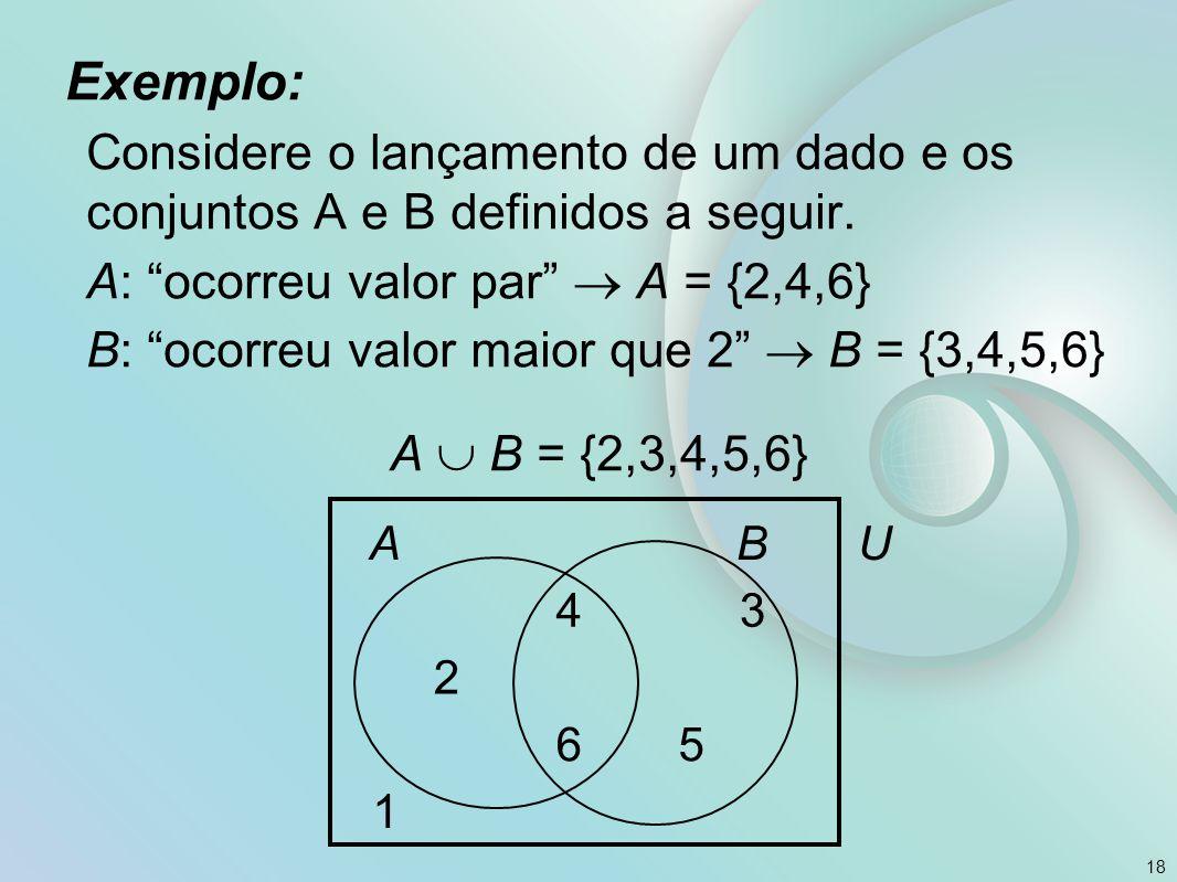 Exemplo: Considere o lançamento de um dado e os conjuntos A e B definidos a seguir.