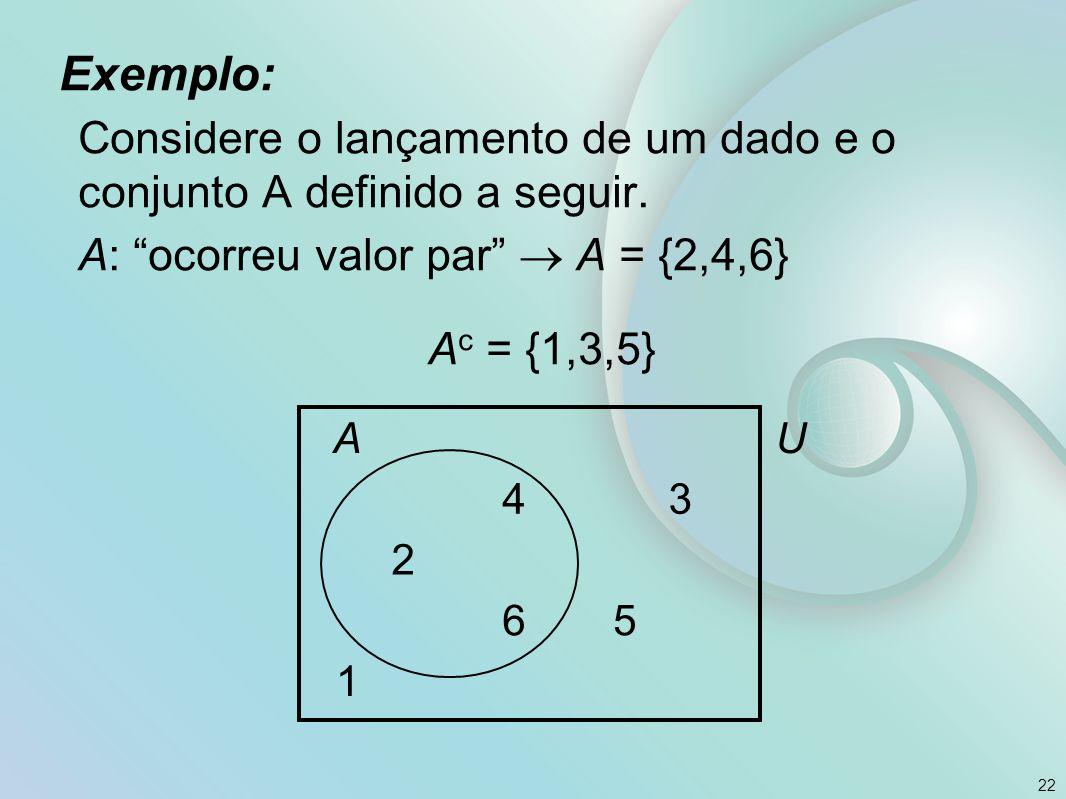 Exemplo: Considere o lançamento de um dado e o conjunto A definido a seguir.