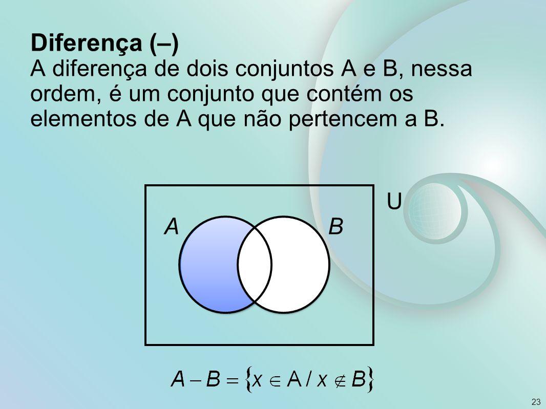 Diferença (–) A diferença de dois conjuntos A e B, nessa ordem, é um conjunto que contém os elementos de A que não pertencem a B.