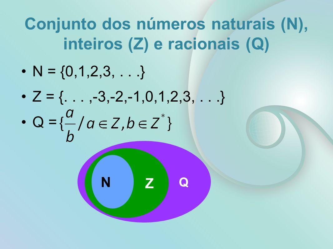 Q Z Conjunto dos números naturais (N), inteiros (Z) e racionais (Q) N = {0,1,2,3,...} Z = {...,-3,-2,-1,0,1,2,3,...} Q = N
