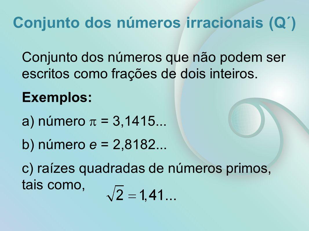 Conjunto dos números irracionais (Q´) Conjunto dos números que não podem ser escritos como frações de dois inteiros.