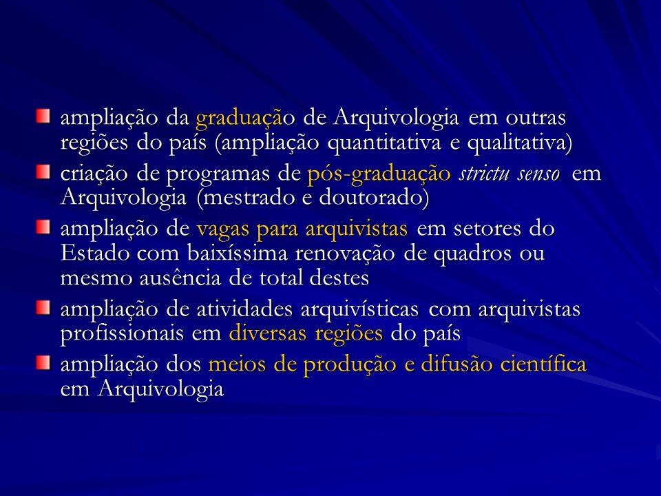 ampliação da graduação de Arquivologia em outras regiões do país (ampliação quantitativa e qualitativa) criação de programas de pós-graduação strictu