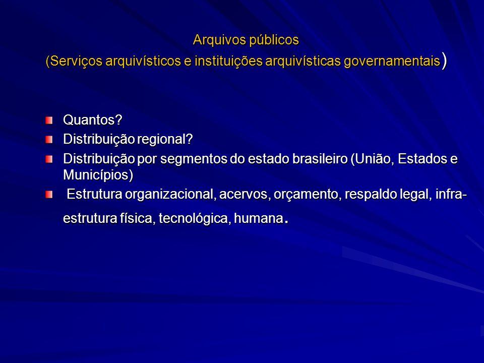 Arquivos públicos (Serviços arquivísticos e instituições arquivísticas governamentais ) Quantos? Distribuição regional? Distribuição por segmentos do