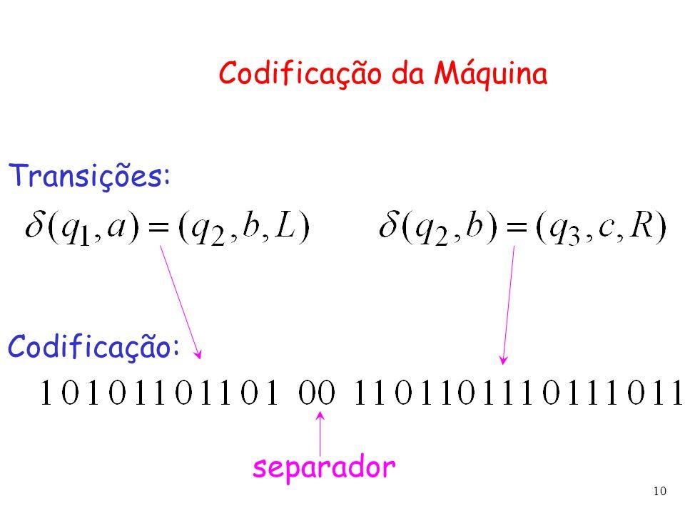 10 Codificação da Máquina Transições: Codificação: separador