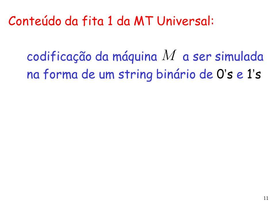 11 Conteúdo da fita 1 da MT Universal: codificação da máquina a ser simulada na forma de um string binário de 0 ' s e 1 ' s