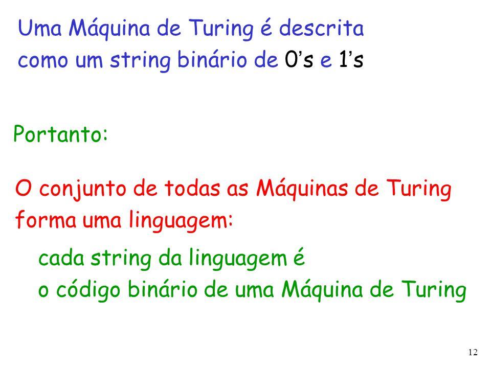 12 Uma Máquina de Turing é descrita como um string binário de 0 ' s e 1 ' s O conjunto de todas as Máquinas de Turing forma uma linguagem: cada string