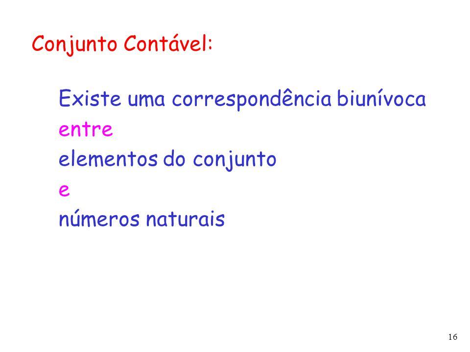 16 Conjunto Contável: Existe uma correspondência biunívoca entre elementos do conjunto e números naturais