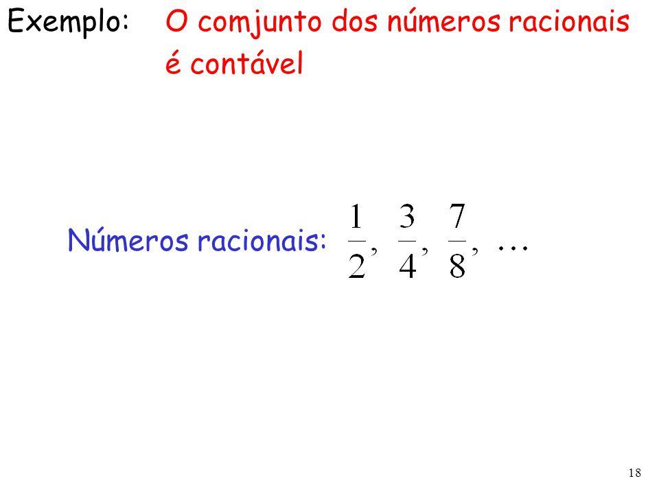 18 Exemplo:O comjunto dos números racionais é contável Números racionais: