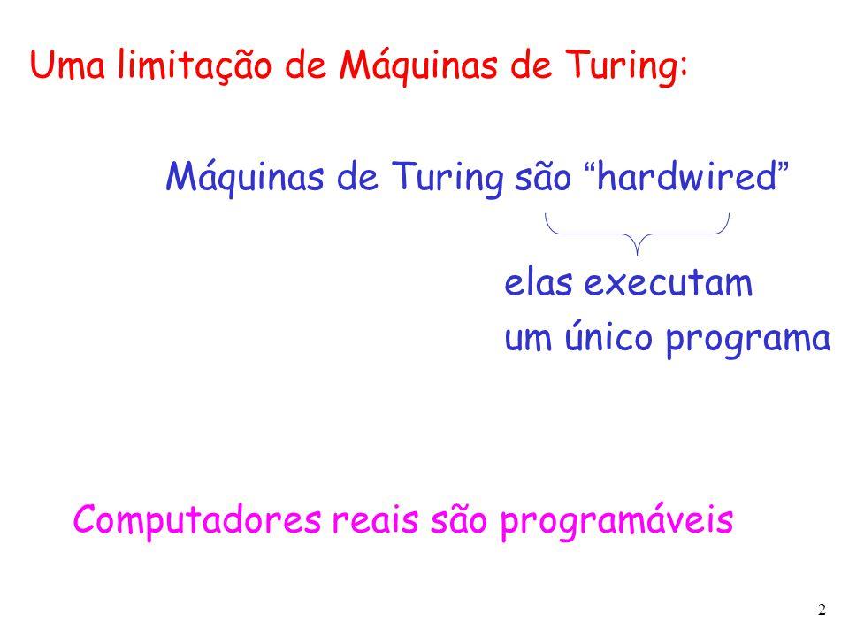 """2 Máquinas de Turing são """" hardwired """" elas executam um único programa Uma limitação de Máquinas de Turing: Computadores reais são programáveis"""