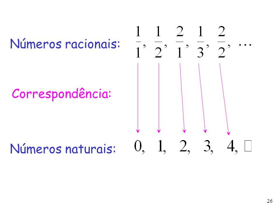 26 Números racionais: Correspondência: Números naturais: