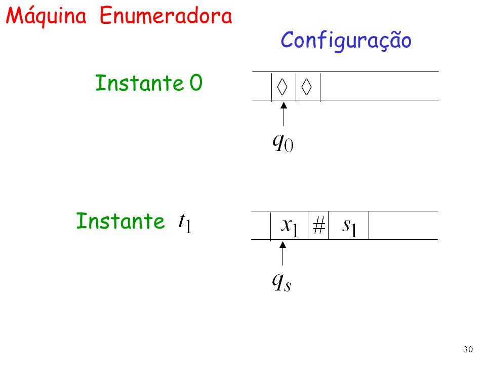 30 Máquina Enumeradora Configuração Instante 0 Instante