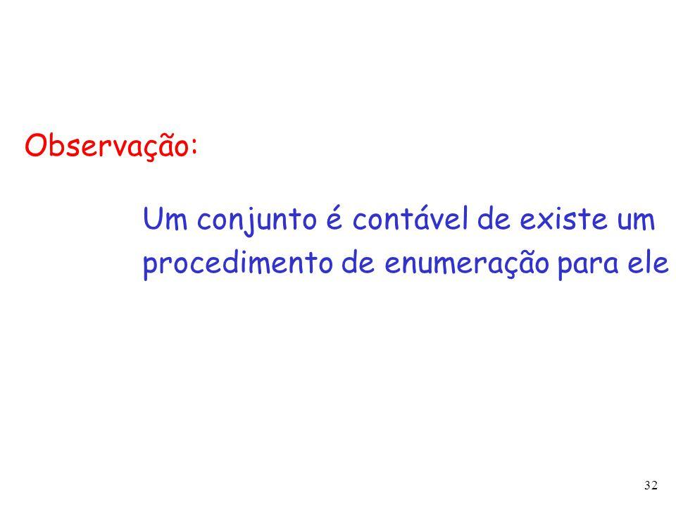 32 Um conjunto é contável de existe um procedimento de enumeração para ele Observação: