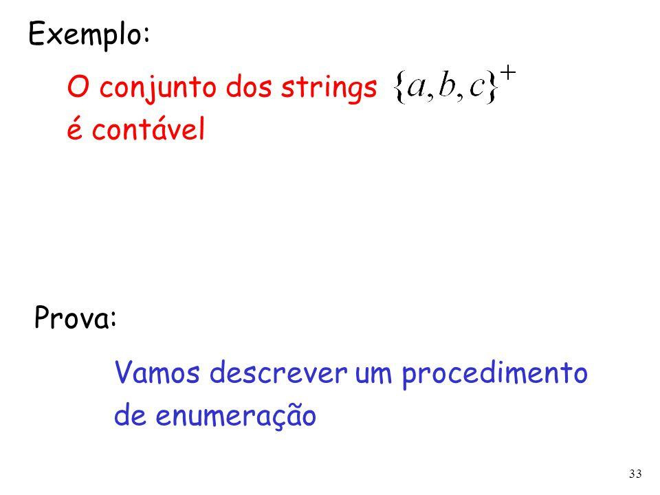 33 Exemplo: O conjunto dos strings é contável Vamos descrever um procedimento de enumeração Prova: