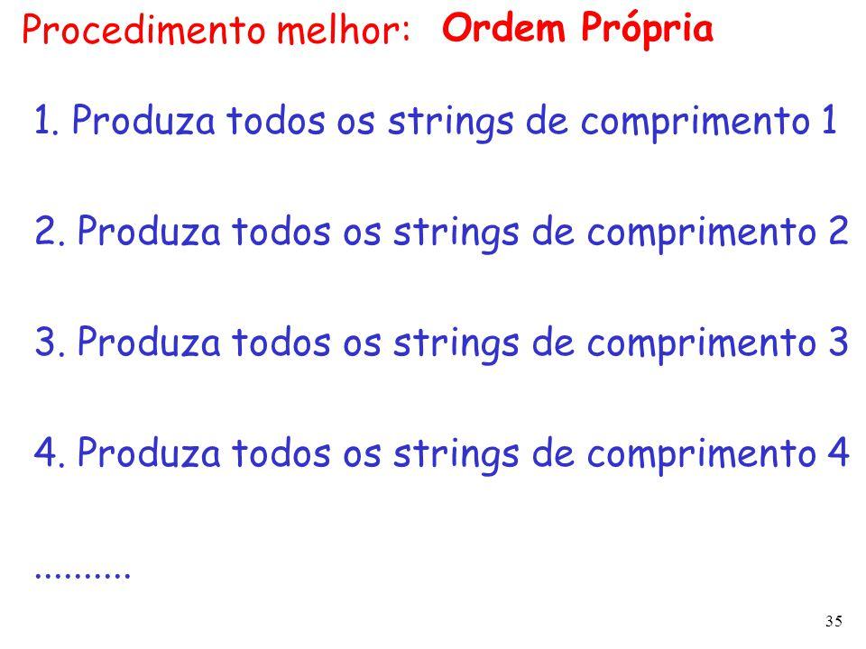 35 Procedimento melhor: 1. Produza todos os strings de comprimento 1 2. Produza todos os strings de comprimento 2 3. Produza todos os strings de compr