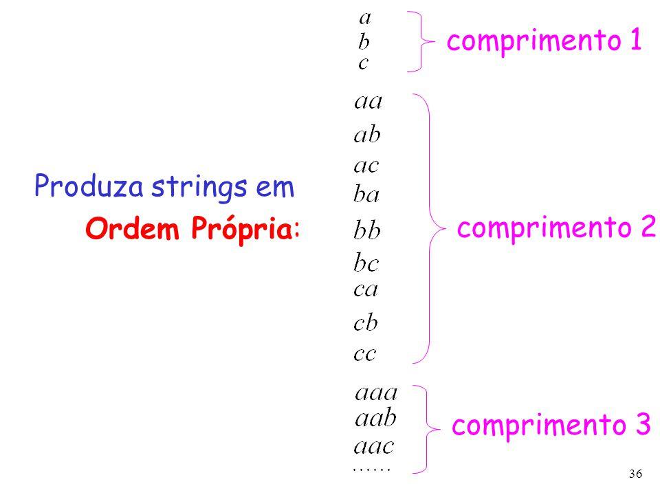 36 Produza strings em Ordem Própria: comprimento 2 comprimento 3 comprimento 1