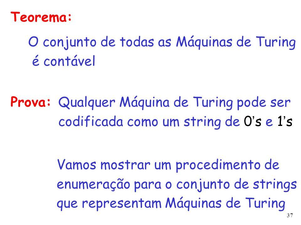 37 Teorema: O conjunto de todas as Máquinas de Turing é contável Prova: Vamos mostrar um procedimento de enumeração para o conjunto de strings que rep