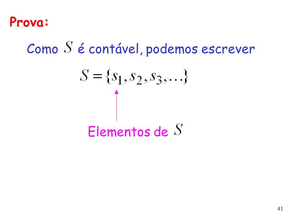 41 Prova: Como é contável, podemos escrever Elementos de