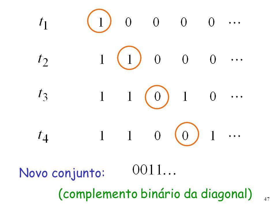 47 Novo conjunto: (complemento binário da diagonal)